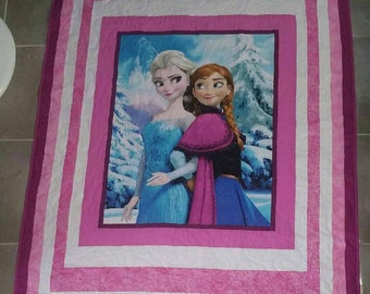 Anna and Elsa quilt, pink quilt, single bed quilt/blanket