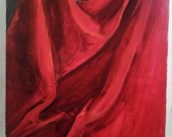 "Red Drapery - Acrylic Painting 14 x 20"" Original Painting"