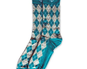 Men's Teal & Grey Argyle Socks