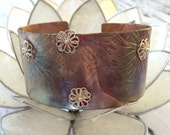 Copper Cuff Bangle Braclet; Mixed Metal; silver; patina; Retro; Rustic; Adjustable; unisex; minimalist jewellery; silver; floers; pattern