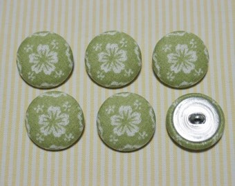 6 White Big Flower Fabric Covered Buttons - Olive (30mm) (Metal Shanks, Metal Flatbacks)