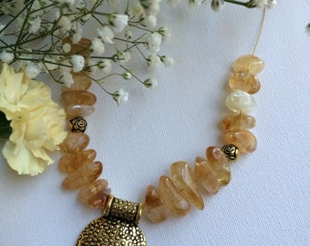Handmade Citrine Necklace with Adjustable extension Chain