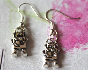 Robot earrings, metal alloy