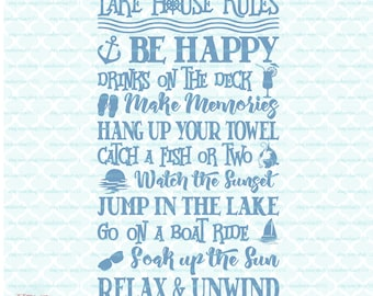 Lake House Rules Quotes Sign Coastal Living Summer Vacation Home svg dxf eps jpg ai files for Cricut Silhouette & other cutting machines