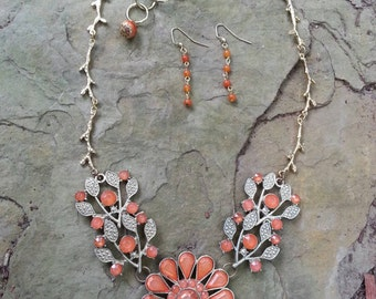 Simple elegant orange and gold plated branch chain necklace with earrings