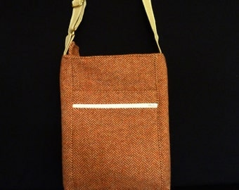 Tan Herringbone Cross Body I Pad/Tablet Messenger Bag