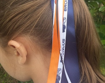 Team Colors Ribbon Ponytail Holder/Pony-O Made with Denver Broncos Ribbon