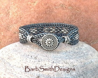 Silver Hematite Beaded Bracelet-Silver Gray Wrap-Gray Metallic Leather Bracelet Set-Custom Sizes-Blinged-Out Skinny One-Smoke n' Mirrors