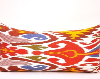 Decorative Lumbar Pillow - Ikat Throw Pillow - Body Pillow - Sofa Pillow - Couch Pillow - Ikat Pillow Cover - Large Lumbar Pillows - Pillows