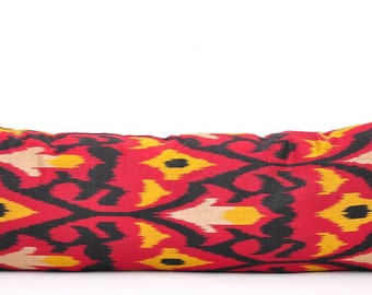 Ikat Pillow Red Black, Bolster pillow cover,Ikat pillow Cover, Lumbar ikat pillow,Ikat Bolster pillow,SofaBolster pillow, Ikat cushion cover