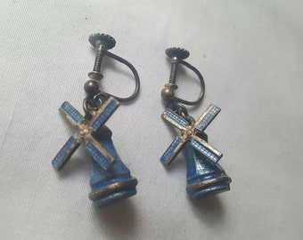 Earrings vintage miniature Netherlands windmill