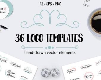 36 Vector logo templates. Logotypes. Premade logo. Vector branding elements. Brand identity. Floral logo. Photography logo. Rustic logo set