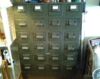 Globe Wernicke Vintage 24 drawer Army Green Card Catalog File Cabinet