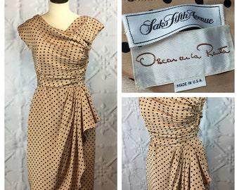 Oscar de la Renta Vintage Designer Silk Polka Dot Ruched Bombshell Day Dress / MED