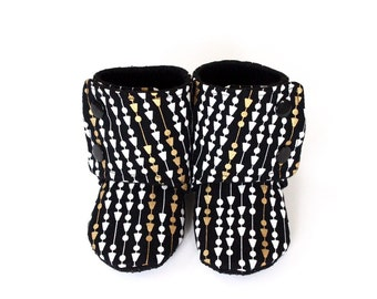 Baby booties, baby shoes, black baby booties, gold baby booties, black shoes, gold shoes, arrow booties