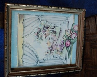 Vintage greeting card mounted in vintage wood frame 4.5X5.5 inches