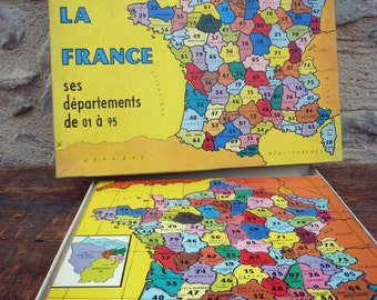 Wood card departments France Puzzle - game VOLUMETRIX - Puzzle vintage