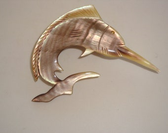Abalone Mother of Pearl Swordfish Brooch