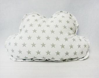 Cloud pillow / grey stars / nursery pillow / kids room decor / nursery room / kids pillow / handmade decorative pillow /baby gift