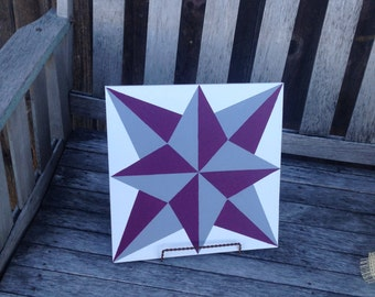 Blazing Star Barn Quilt in Burgundy and Charcoal