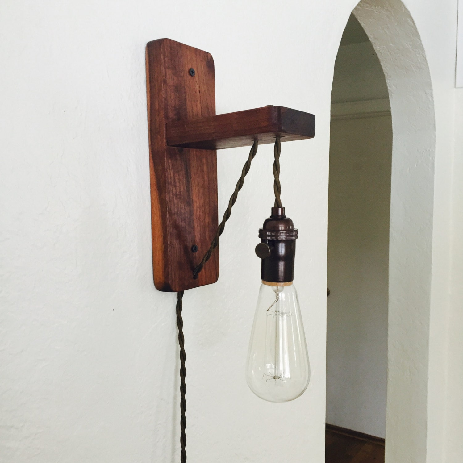 walnut plug in wall sconce plug in pendant edison by boxwoodlights. Black Bedroom Furniture Sets. Home Design Ideas