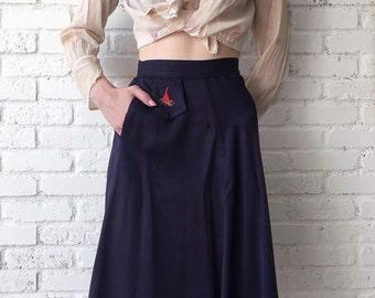 1940s Campfire Girls Skirt / 40s Navy High Waist Circle Skirt / Rare