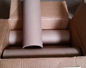8 - 12 inch tall, 3.75 inch diameter, .25 inch thick cardboard rolls