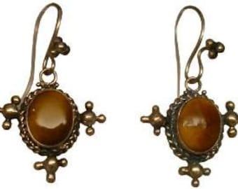 Genuine Genuine Tiger Eye in sterling silver earrings in an antique design
