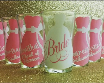 Personalized shot glasses bridal, wedding, bridemaid, bridemaids gift