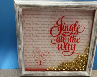 Jingle All The Way Shadow Box Bells White Washed Frame