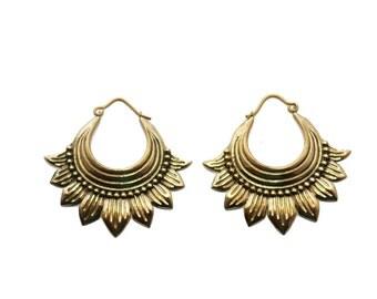 Sunflower Earrings- Brass Jewelry- Tribal Hoops- Gypsy Earrings