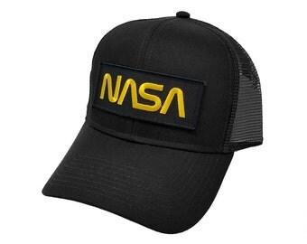 Nasa Gold Letter Black Military Patch Trucker Mesh Snapback Baseball Cap Hat