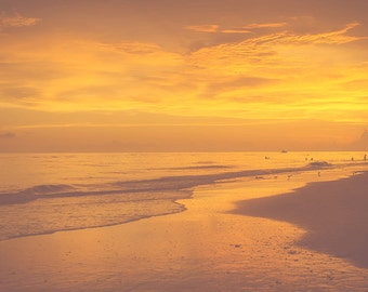 Stunning Original Fine Art Photographic Print of Golden Beach Sunset