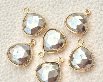 925 Sterling Silver,24k Gold Plated,PYRITE Faceted Heart Shape Pendent,1 Piece of 15mm