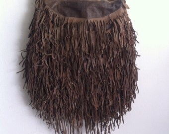 Fringe big bag,  leather brown handmade bag.