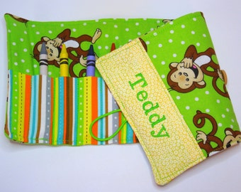 Personalized Crayon Roll - Monkey Green, crayons INCLUDED, Crayon roll-up, pencil case, 12+ crayons