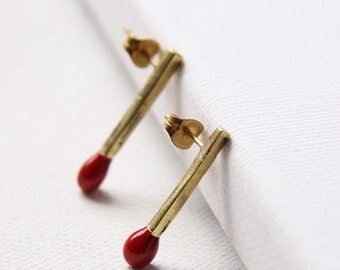 Red Matches Stud Earrings