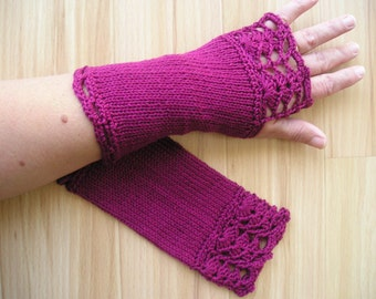 tight-fitting gloves with thumb hole, Burgundy, cotton