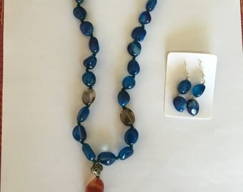 Blue & Red Topaz Necklace, Earring Set