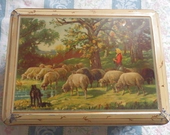 French shepherdess metal vintage box