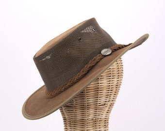 Real Australian Leather Cooler Hat. Original Barmah Hat-in-a-Bag. Made in Australia. Hickory Color