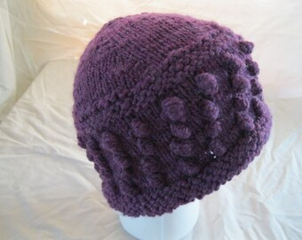 Bobble Hat Knitted from Purple Handspun Yarn