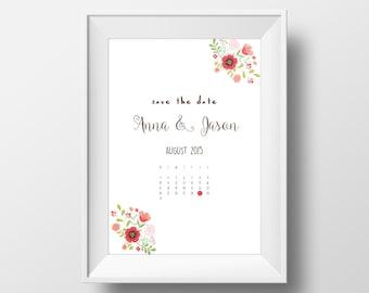 Save The Date - Cute Floral Calendar