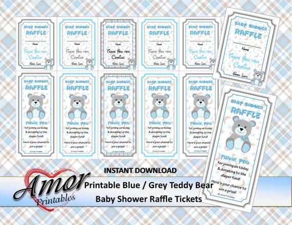 teddy bear baby shower raffle tickets blue  grey borders