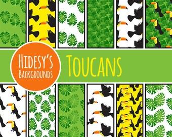 Toucan Digital Paper // Toucan Jungle Birds Digital Paper // Toucans Scrapbooking Paper // Jungle Theme Digital Paper // Nursery Jungle