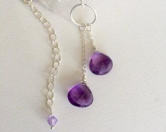 Amethyst Teardrop Crystal Lariat Necklace Sterling Silver, Amethyst Crystal Y Necklace