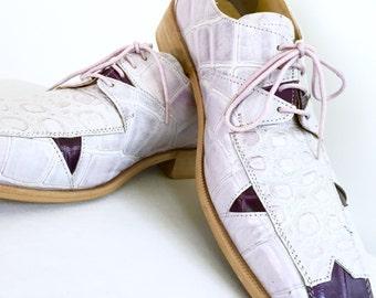 Liberty Men's Exclusive Shoes Gator Print Two Tone Genuine Leather Statement Dress Shoe Size 9 Purple Tones