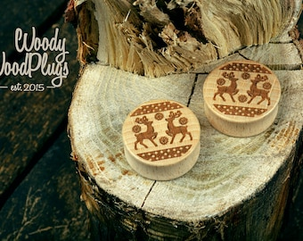 Ear plugs - Deer plugs - personalized plugs- christmas plugs - wooden plugs - wood ear plugs-  25 mm 26 mm 28 mm 30 mm 32 mm 34 mm 36 mm