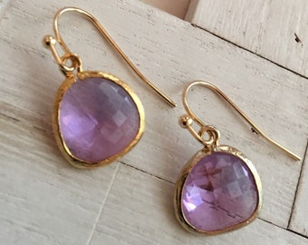 Violet Glass Pendant Earring Modern Jewelry Everyday Earrings Wedding Jewelry Birthday Gift Bridesmaid Earrings Lavender Earrings Purple