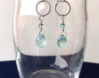 Blue chalcedony briolette earrings on small sterling silver hoop dangle earrings
